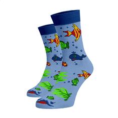 BENAMI Veselé ponožky Rybičky Blankytná Bavlna 33-34