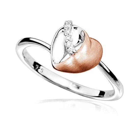 MOISS Bájos bicolor gyűrű cirkónium kövekkel Szív R00009 ezüst 925/1000