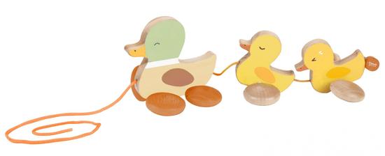 Teddies Kacsa, kiskacsákkal fából, húzható