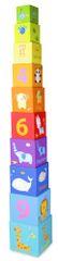 Teddies Kubus piramis puzzle, 10db négyzet karton