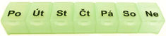 OBZOR Dávkovač léků týdenní, různé barvy, ČESKÁ varianta -: světle zelená