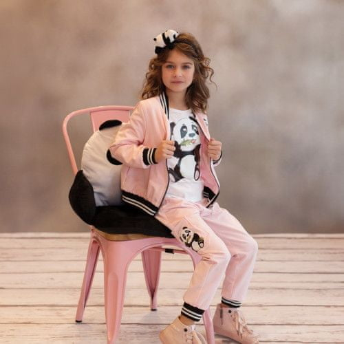 DAGA kidswear Dievčenské nohavice s pandou ružové DAGA-Daga collection