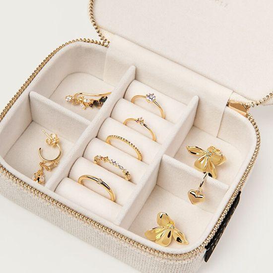 PDPAOLA Bež potovalna škatla za nakit ON-THE-GO Zakladnica AC01-005-U