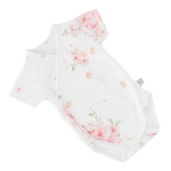 YOSOY Body niemowlęce z krótkim rękawem, 100% bawełna organiczna, JAPOŃSKI KWIAT, rozmiar 62