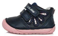 D-D-step dívčí barefoot kožené kotníčkové tenisky S070-80 21 tmavě modrá