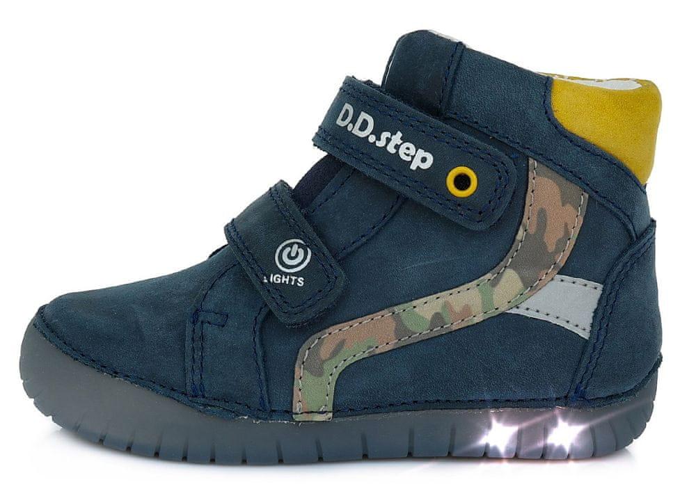 D-D-step chlapecká svítící kožená kotníčková obuv A050-944 25 tmavě modrá