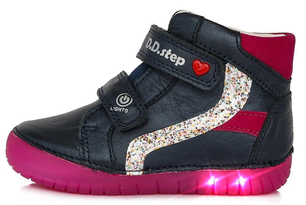 D-D-step dívčí svítící kožená kotníčková obuv A050-944C 31 tmavě modrá