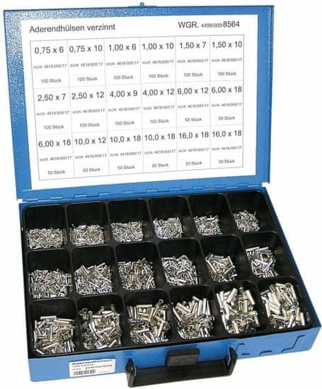 Dresselhaus Dutinky lisovacie neizolované 0,75-16 mm2, sada 1400 ks v kufri