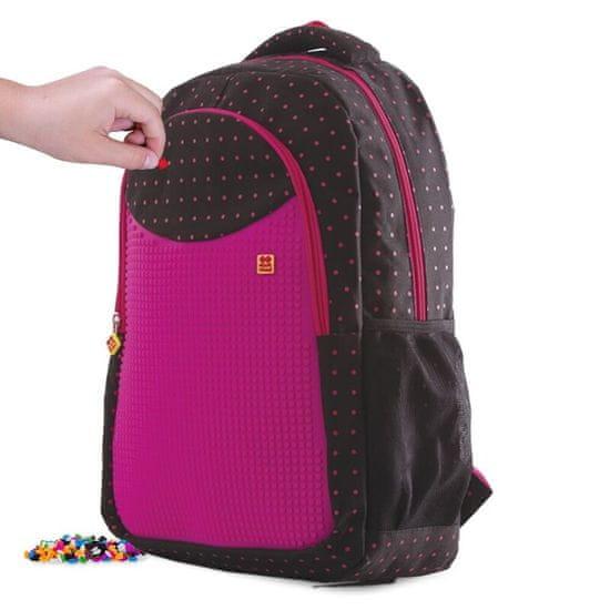 Pixie Crew študentský batoh ČIERNY S FUKSIOVÝMI bodkami