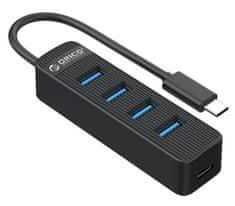 Orico TWC3-4A USB vozlišče (hub), 4x USB 3.0, USB-C, 0,15 m, črn