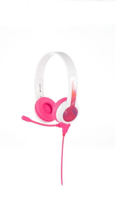 BuddyPhones StudyBuddy - dětská sluchátka s mikrofonem, růžová
