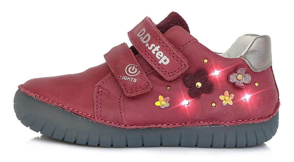 D-D-step dívčí svítící kožené tenisky S050-632 30 růžová