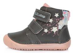 D-D-step dívčí barefoot kožená kotníčková obuv A063-904A 26 šedá