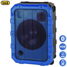 Trevi XF 1300 BEACH karaoke zvočnik, Bluetooth, IPX4, 80W RMS, vgrajena baterija, DISCO lučke, moder