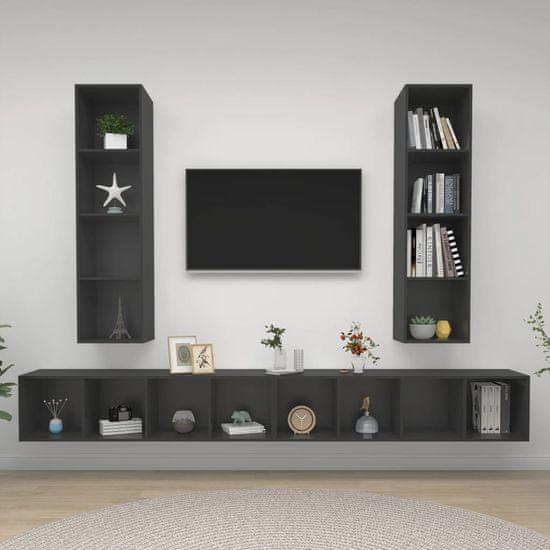 shumee 4 db szürke forgácslap falra szerelhető TV-szekrény