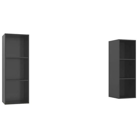 shumee 2 db magasfényű szürke forgácslap fali TV-szekrény