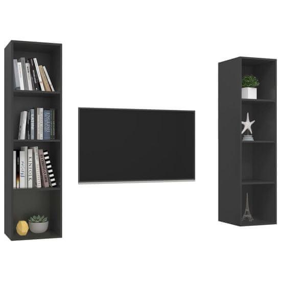 shumee Nástenné TV skrinky 2 ks sivé drevotrieska