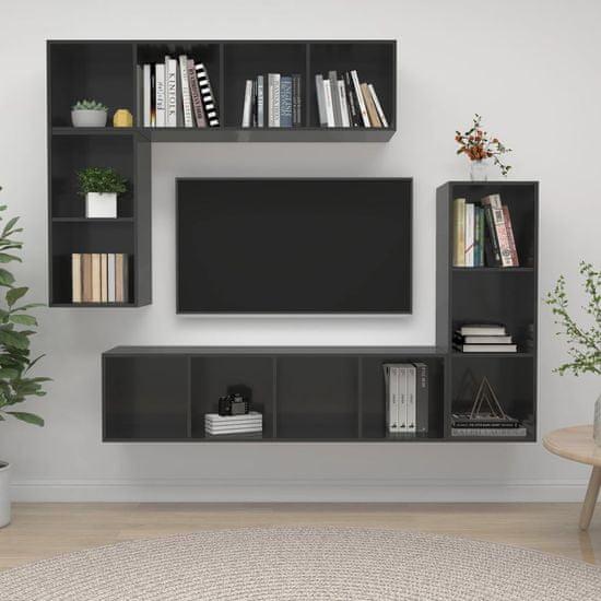 shumee 4-dielne. sada televíznych skriniek, vysoký lesk, sivá, drevotrieska