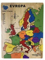 Jaku dřevěná mapa Evropy