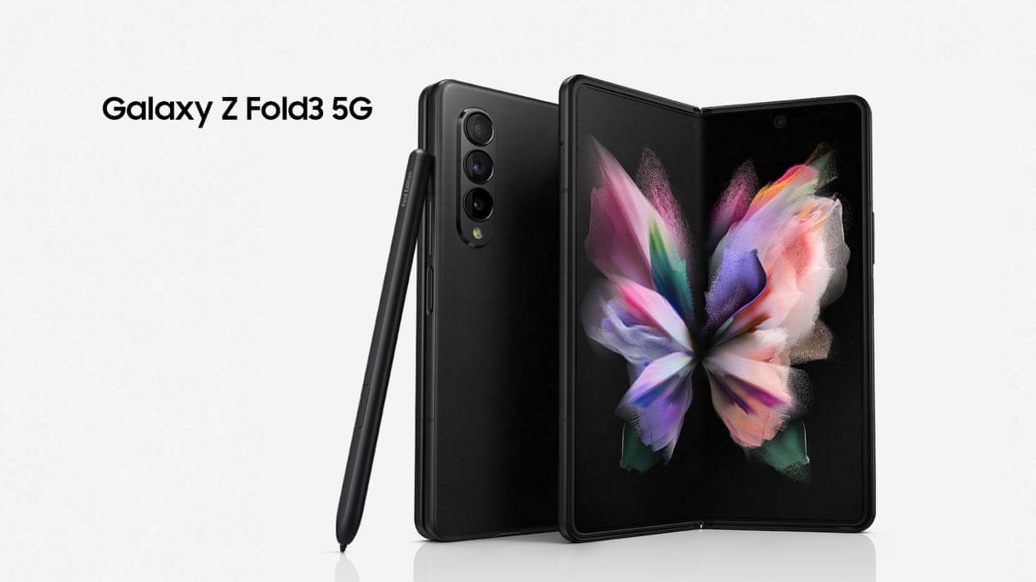 Samsung Galaxy Z Fold3 5G, telefon, vlajková loď skládací Samsung skládací konstrukce revoluční design výkonný skládací telefon jedinečný design skládací chytrý telefon ohebný chytrý telefon ohebná konstrukce