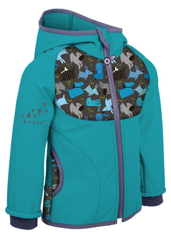 Unuo dětská softshellová bunda s fleecem Pejsci 128/134 modrá