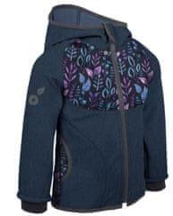 Unuo kurtka dziewczęca softshell z polarem Listki 146/152 ciemnoniebieska