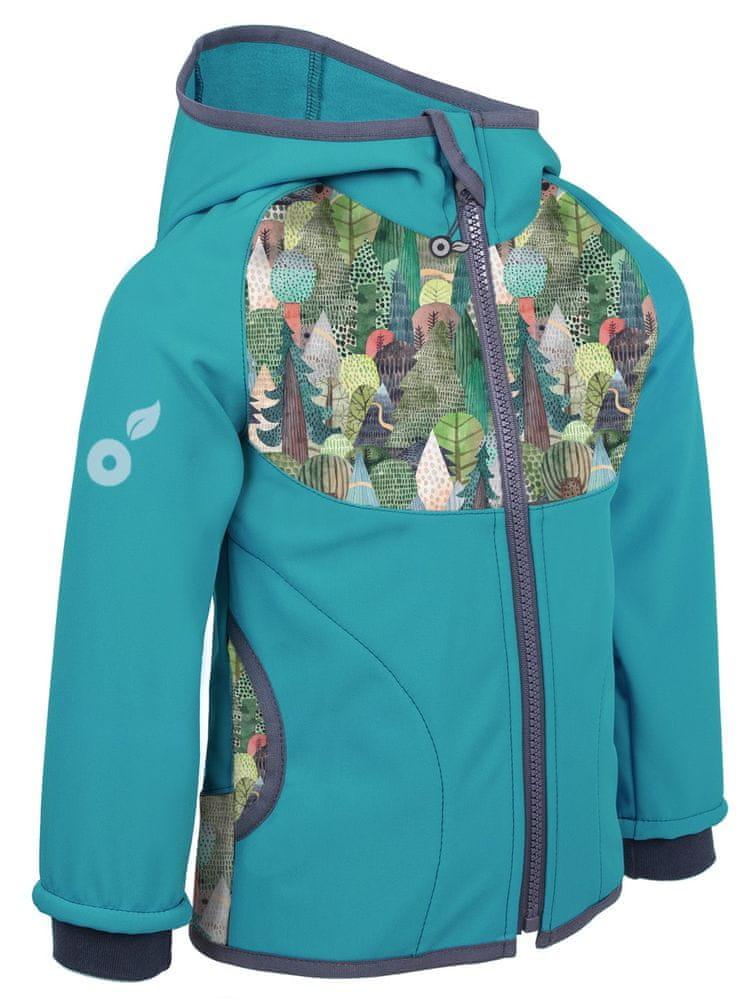 Unuo dětská softshellová bunda s fleecem Kouzelné stromy 128/134 modrá