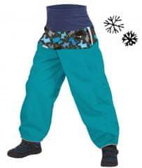 Unuo otroške softshell hlače z grelniki, psički, 80/86, modre