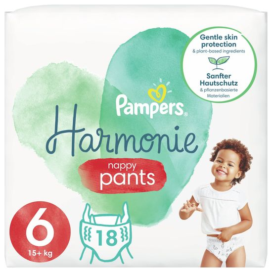 Pampers pieluchomajtki Pants Harmonie rozmiar 6, 18 pieluch, 15kg+
