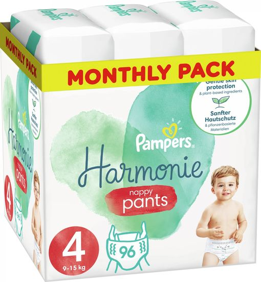 Pampers Pants Harmonie hlačne plenice, Velikost 4, 9–15 kg, 96 kosov