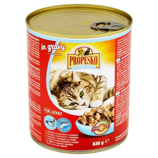 Propesko kousky kočka losos a pstruh v omáčce 6 x 830g