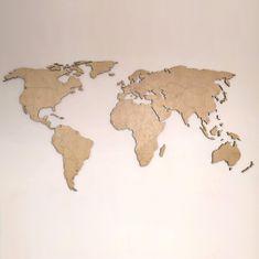 MAJA DESIGN Dřevěná MAPA SVĚTA s gravírováním názvů států