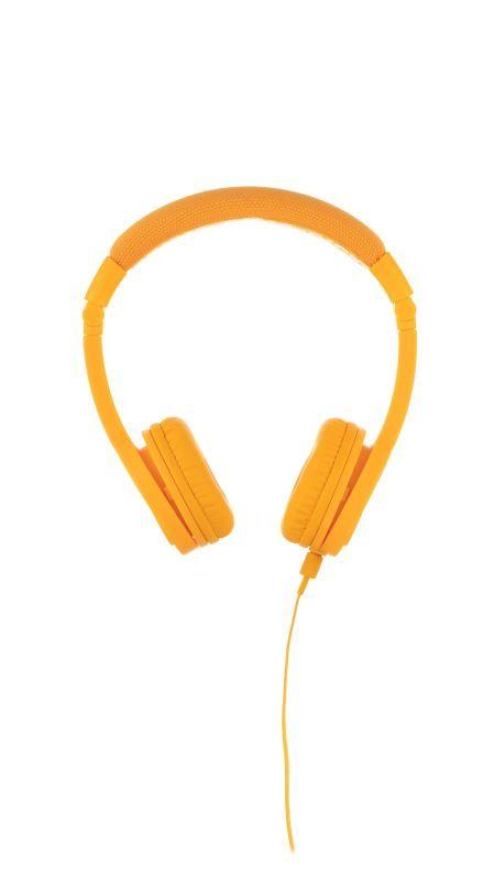 BuddyPhones Explore+ dětská drátová sluchátka s mikrofonem, žlutá