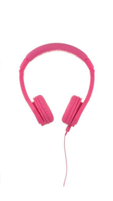BuddyPhones Explore+ dětská drátová sluchátka s mikrofonem, růžová