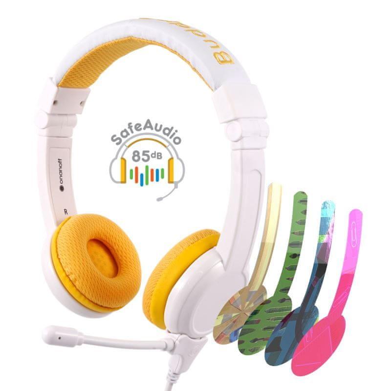 BuddyPhones School+ dětská sluchátka s mikrofonem, žlutá