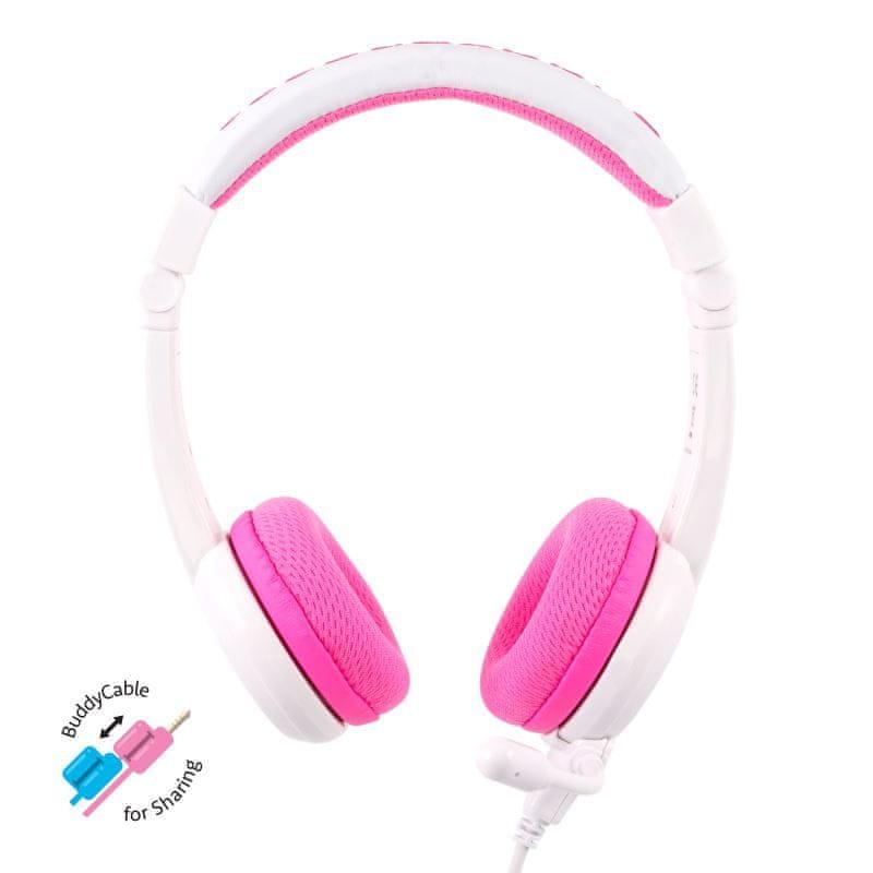 BuddyPhones School+ dětská sluchátka s mikrofonem, růžová