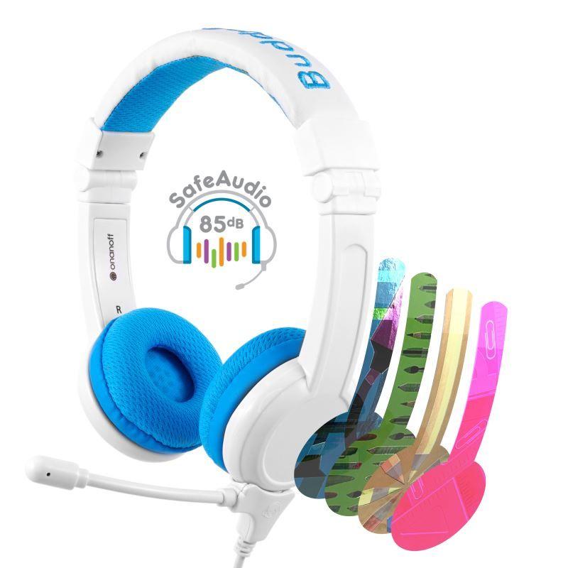 BuddyPhones School+ dětská sluchátka s mikrofonem, modrá