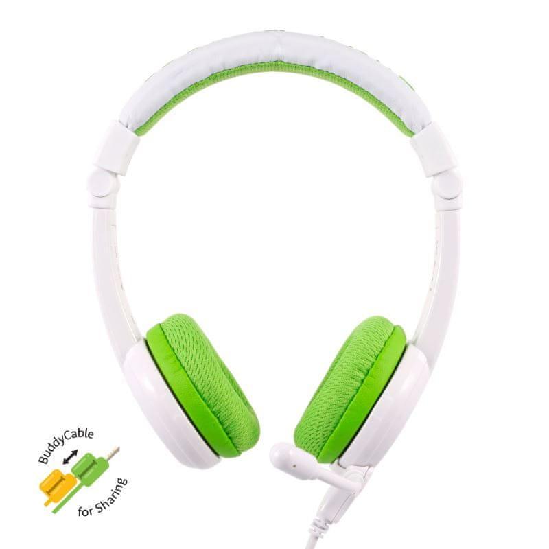 BuddyPhones School+ dětská sluchátka s mikrofonem, zelená