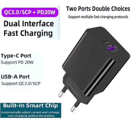 En-TRON hitri omrežni polnilec QC3.0/SCP + PD 20 W (USB + TYPE-C) 100–240 V