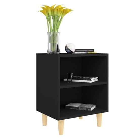 shumee 2 szafki nocne z drewnianymi nóżkami, czarne, 40x30x50 cm