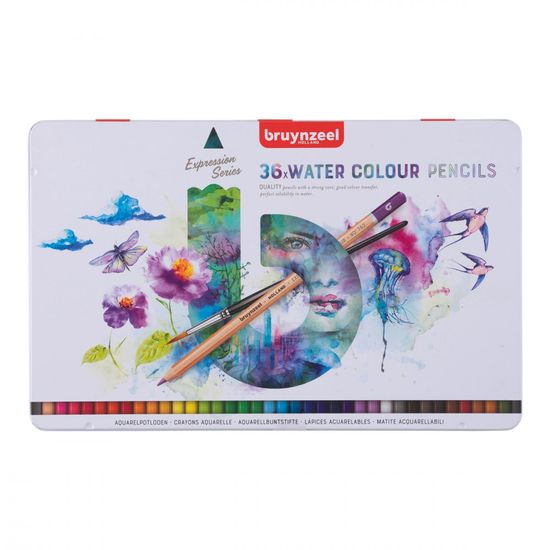 Bruynzeel akvarelové farbičky Expression Water Colour, 36ks + štetec