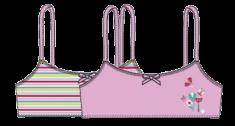 Bob&Oli 2pack dívčích podprsenek z organické bavlny 60B803 128 ružová