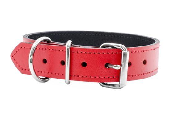 Sedlář Tlustý Červený kožený obojek podšitý kůží 30mm široký, obvod krku 50-60cm