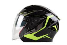 MAXX OF 878 Skútrová helma otevřená s plexi a sluneční clonou - černozelená reflexní, XS
