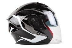 MAXX OF 878 Skútrová helma otevřená s plexi a sluneční clonou - černostříbrná, XS