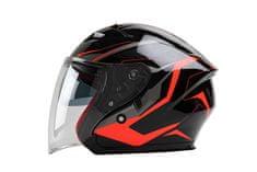 MAXX 878 Skútrová helma otevřená s plexi a sluneční clonou - černooranžová, XL