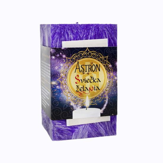 Astron Sviečka želania hranol, fialová 415 g