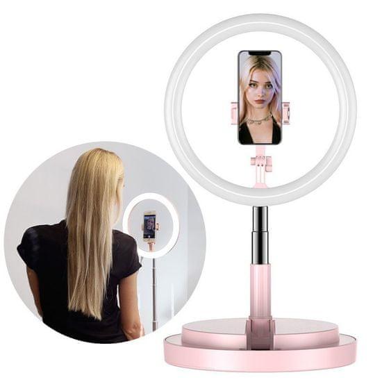 MG Selfie Ring kruhové LED svetlo, ružové