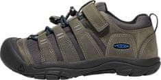 KEEN dětská kožená outdoorová obuv Newport Shoe Steel Grey/Brilliant Blue 32,5 šedá