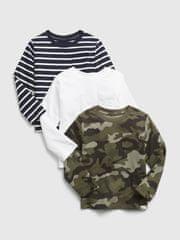 Gap Dětská trička s dlouhým rukávem, 3ks 4YRS